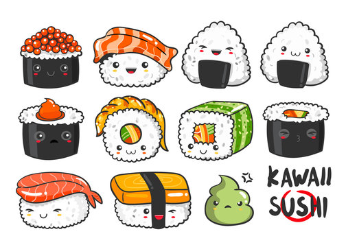 Hand drawn various kawaii sushi. Colored vector set. All elements are isolated