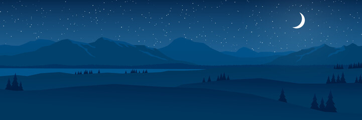 mountains and hills at night landscape flat design panorama