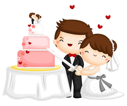a happy couple cutting a wedding cake