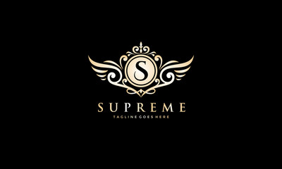 Luxury royal logo - wing vector template