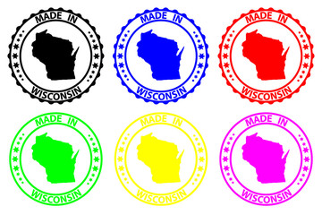 Made in Wisconsin - rubber stamp - vector, Wisconsin (United States of America) map pattern - black, blue, green, yellow, purple and red