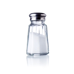 Foto op Aluminium Kruiderij salt shaker, isolated on white