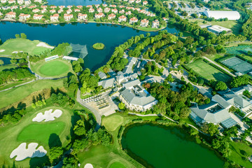 Aerial view of a beautiful green golf course