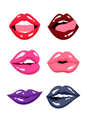 Various expressions of lips. Colored vector set. All objects are isolated