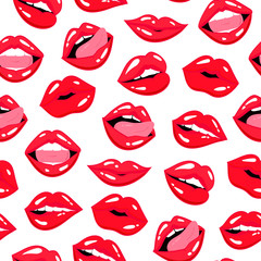 Red lips expressions. Colored vector seamless pattern