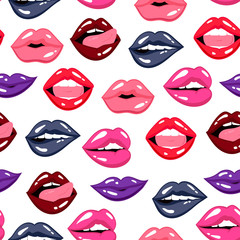 Various lips expressions. Colored vector seamless pattern