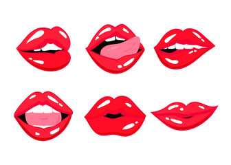 Various expressions of red lips. Vector set. All objects are isolated