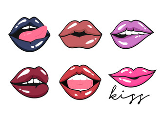 Six various expressions of lips. Colored vector set. All objects are isolated