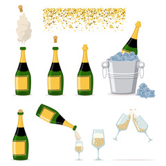 Champagne bottle is closed, open, an explosion of cork, bucket with ice, wine glasses and confetti. Vector flat icons set of party and holiday elements isolated on white background.