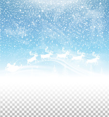 Winter sky with falling snow and Santa Claus on sleigh isolated on transparent background