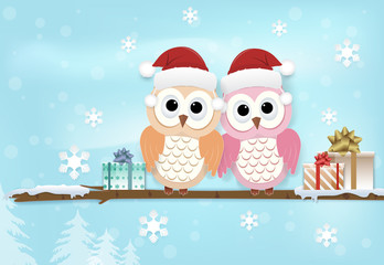 Paper art illustration of Owl couple and snowflake on blue. Merry Christmas, Happy New Year background