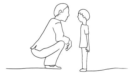 Kneeling Father Son Parent Child Conversation