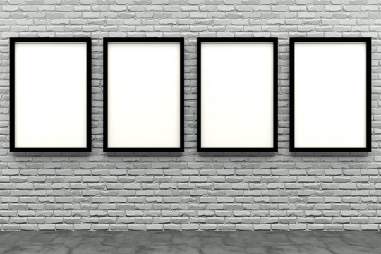 3d render black Photo frame on white brick wall