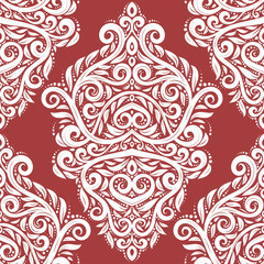 Red and white damask vector seamless pattern, wallpaper. Elegant classic texture. Luxury ornament. Royal, Victorian, Baroque elements. Great for fabric and textile, wallpaper, or any desired idea.