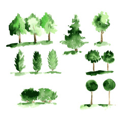 Set of abstract watecrolor trees with green leaves. Vector