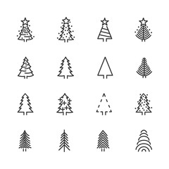 Vector image set of Christmas trees line icons.