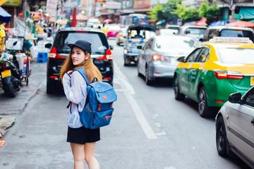 Tourists are visiting the Chinatown, Bangkok, Thailand.
