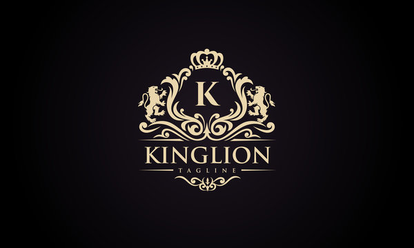 Luxury lion crest logo - royal lion vector template