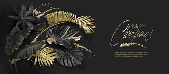 Vector horizontal banner with tropical leaves and gold splashes on dark background. Exotic botanical design for Christmas greeting card, party invitation, holiday sales, poster, web page, packaging