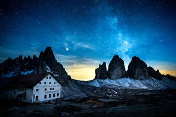 Milky way on Tre Cime di Lavaredo, alps, italy