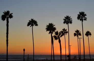 scenic sunset at Huntington Beach California