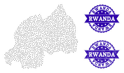 Dotted black map of Rwanda and blue dirty seal stamp. Vector map of Rwanda constructed with irregular small round points. Vector blue seal with grunge rubber texture.