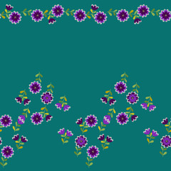 Simple cute border in small-scale flowers. High-coverage millefleurs. Calico style. Floral seamless background for textile or book covers, manufacturing, wallpapers, print, gift wrap and scrapbooking
