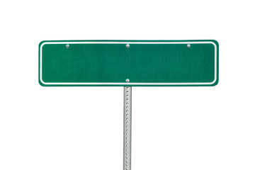Blank green directional arrow sign isolated on white. Wall mural