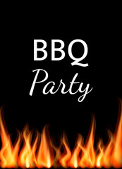 Words Barbecue party with fire flames. Vector illustration