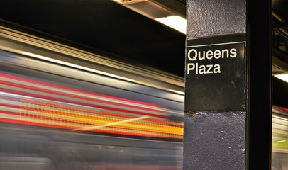 Queens New York City Subway Train MTA Transportation Commute Underground Transit