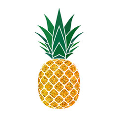 Pineapple golden with green leaf. Tropical gold exotic fruit isolated white background. Symbol of organic food, summer, vitamin, healthy. Nature logo. Design element icon. Vector illustration