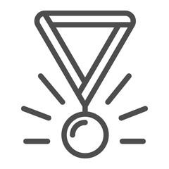 Medal line icon. Award vector illustration isolated on white. Winner medallion outline style design, designed for web and app. Eps 10.