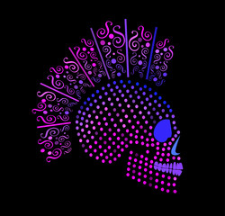 Punk skull icon with dots and ornament details purple