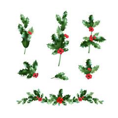 Holly decor branches set