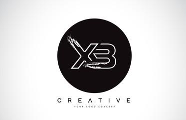 XB Modern Leter Logo Design with Black and White Monogram. Creative Letter Logo Brush Monogram.