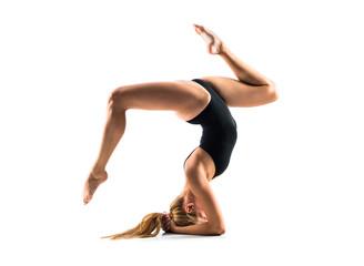 Aluminium Prints Gymnastics Young blonde woman in maillot practicing rhythmic gymnastics