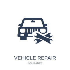 Vehicle repair icon. Trendy flat vector Vehicle repair icon on white background from Insurance collection