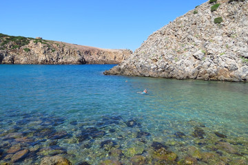 The splendid bay of Cala Domestica surrounded by high cliffs in the southwest of Sardinia, Italy