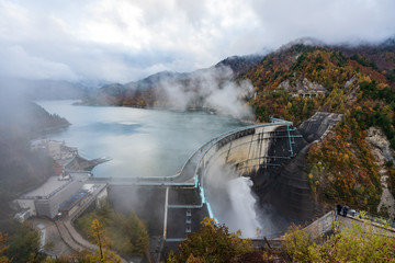 Landscape of Kurobe Dam in autumnal rain (秋雨の黒部ダム) in Toyama, Japan.