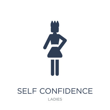 Self Confidence icon. Trendy flat vector Self Confidence icon on white background from Ladies collection