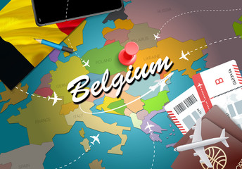 Belgium travel concept map background with planes, tickets. Visit Belgium travel and tourism destination concept. Belgium flag on map. Planes and flights to Belgian holidays to Brussels,Bruges