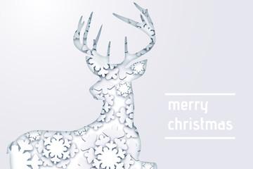 Postkarte Weihnachtsgrüße mit einem Hirsch aus Schneeflocken