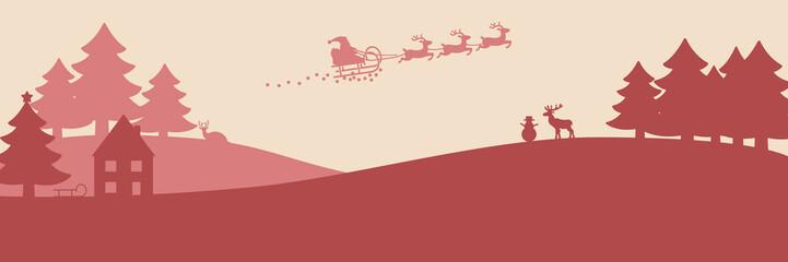 Banner mit einer lebendigen Winterlandschaft und fliegendem Weihnachtsmann