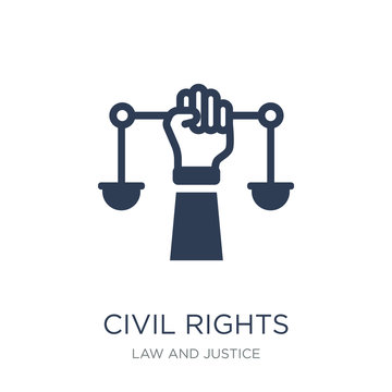 civil rights icon. Trendy flat vector civil rights icon on white background from law and justice collection