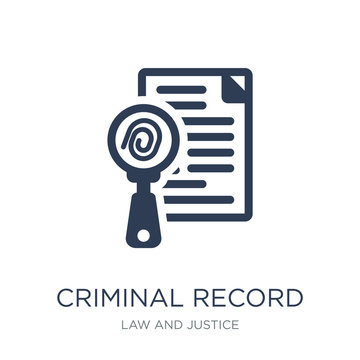 Criminal record icon. Trendy flat vector Criminal record icon on white background from law and justice collection