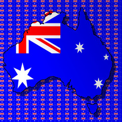 Graphic illustration of an Australian flag with a contour of borders