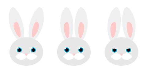 Rabbit portrait with different emotions. Vector illustration.