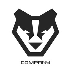 Geometric dog husky logo
