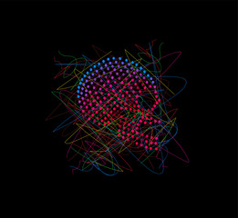 Artistic skull icon with pink dots, colorful,
