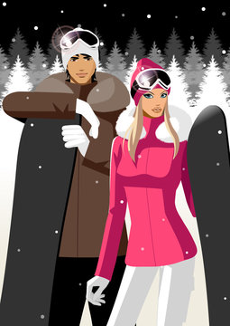 Couple holding snowboards